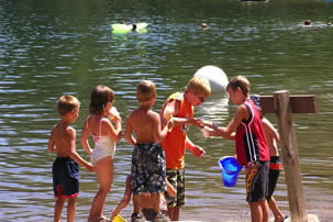 kids playing at Pinecrest Lake
